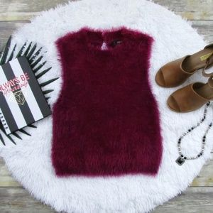 Forever 21 Fuzzy Knit Crop Top Wine Size L